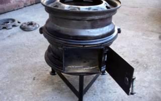 Как сделать печь из колесных дисков для казана
