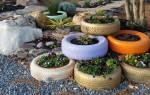 Как вырезать из шины колеса клумбу под цветы фото